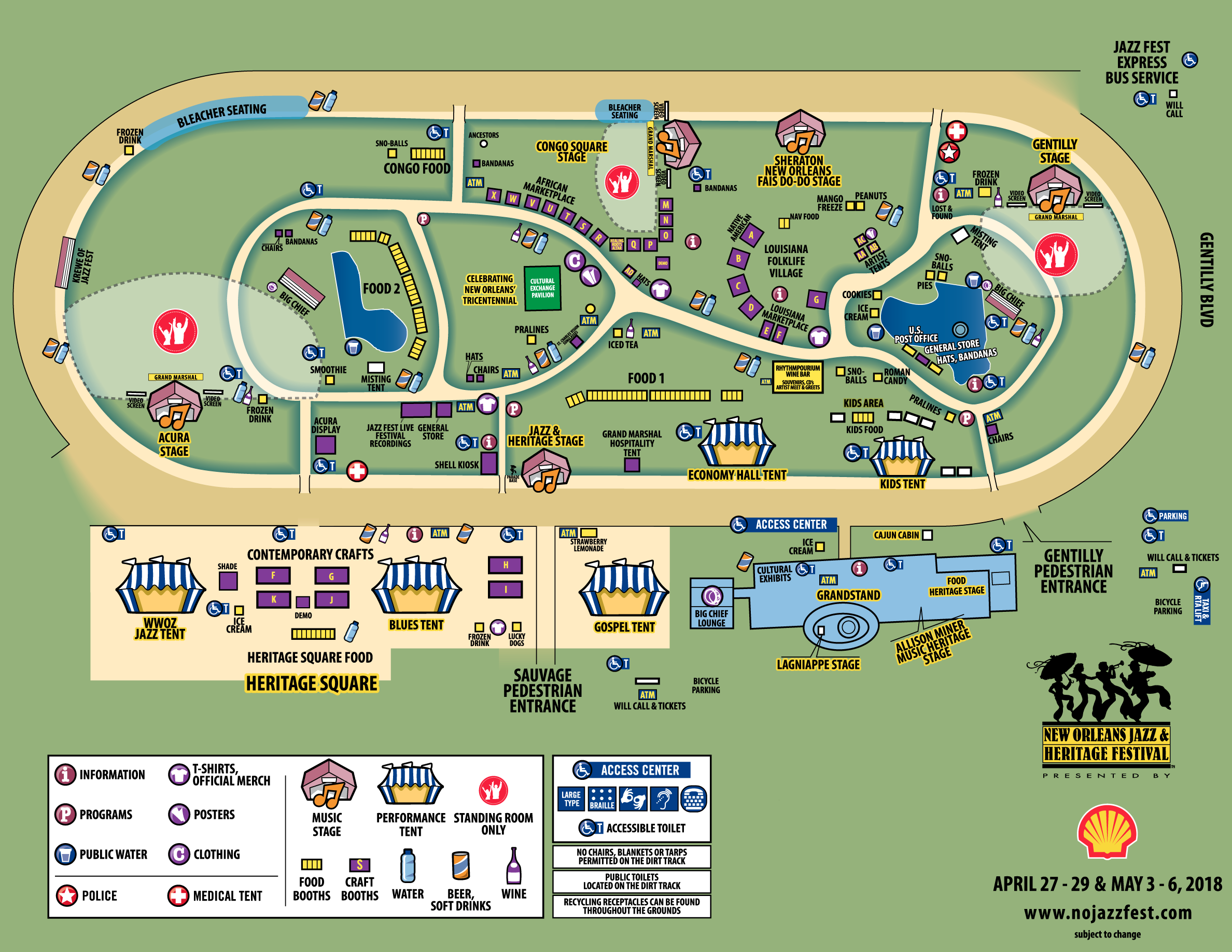 new orleans fairgrounds map Click Here For Your 2018 Jazz Fest Map Where Y At new orleans fairgrounds map