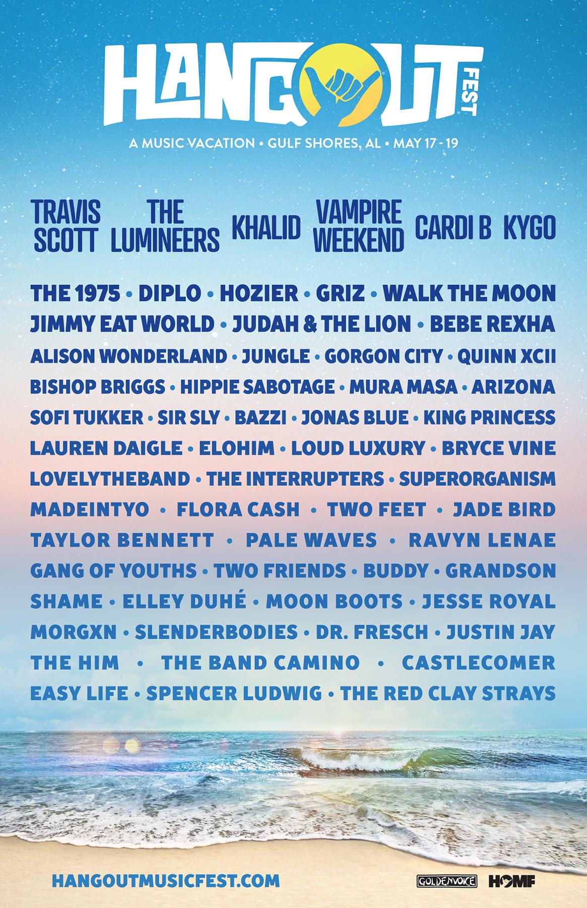 Travis Scott, The Lumineers, Cardi B and More to Headline 10th Annual Hangout Music Festival